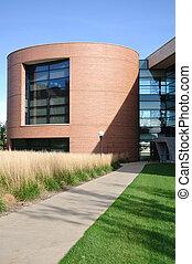 gebouw, kantoor, universiteit, moderne, cilindrisch, of