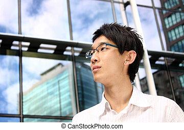 gebouw, kantoor, zakelijk, jonge, aziatische man, mooi