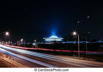 gebouw, korea, vergadering, nationale, nacht, yeouido, aanzicht