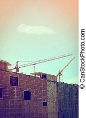 gebouw, kranen, groot, gebouw stek