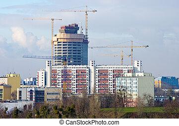 gebouw, kranen, groot, weinig, bouwsector, onder
