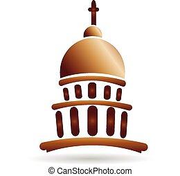 gebouw, logo, kerk, capitool, tempel