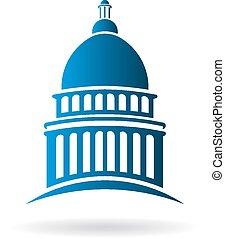 gebouw, logo, vector, capitool