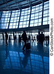 gebouw, luchthaven, silhouettes, mensen