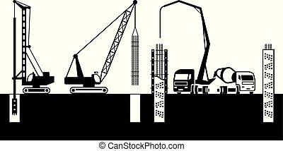 gebouw mechanisme, maken, stichtingen, van, gebouw