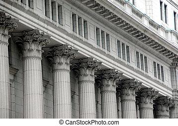 gebouw, met, kolommen