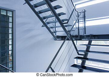 gebouw, moderne, afslaf, stairwell, noodgeval