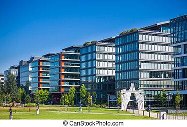 gebouw, moderne, detail, kantoor