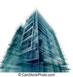 gebouw, moderne, kantoor