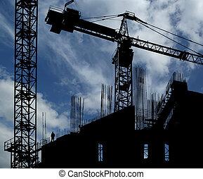 gebouw, multi-verdieping, bouwsector, achtergrond, onder, kraan