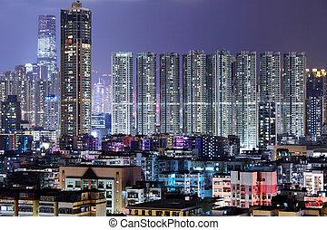 gebouw, nacht, hong kong, vol