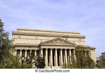 gebouw, nationale archieven, usa