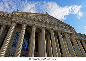 gebouw, nationale, washington dc, closeup, archief, aanzicht