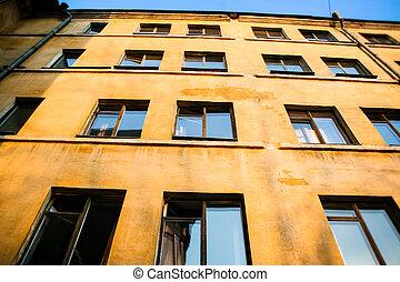 gebouw, onder, gele