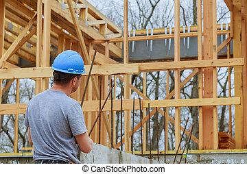 gebouw, onderzoeken; inspecteren;, controleren, bouwterrein, bouwsector, bouwen, thuis, nieuw, inspecteur, voortgang