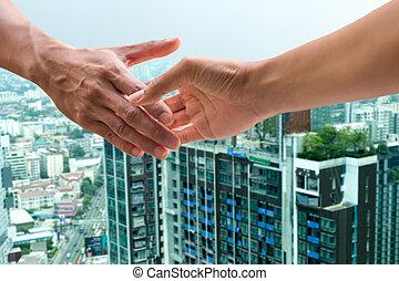 gebouw, ontwikkelen, succes, overeenkomst, hand, bouwsector, schudden, zakenman
