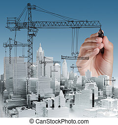 gebouw, ontwikkeling, concept