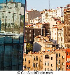 gebouw, oud, glas, moderne, huisen, facade