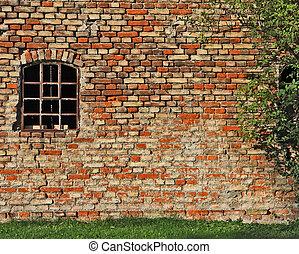 gebouw, oud, venster, brickwall, industriebedrijven