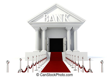 gebouw, ouderwetse , achtergrond, witte , pictogram, bank, 3d
