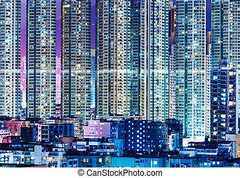 gebouw, overpopulated, hong, moderne, kong, nacht