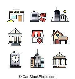 gebouw, pictogram, set, kleur