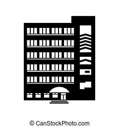 gebouw, pictogram, stijl, multistory, eenvoudig