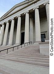 gebouw, pijlers, stappen, gerechtshof
