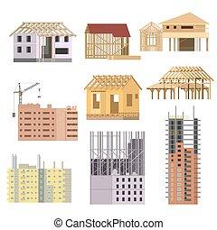 gebouw, plat, iconen, proces, woning, set., vector, crane., in aanbouw, construction.