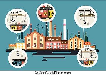 gebouw, plat, industriebedrijven, oud, fabriek, vector,...