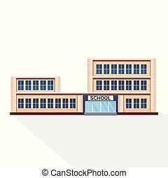 gebouw, plat, school, concept, achtergrond, buitenkant,...