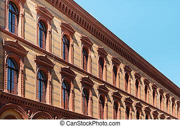 gebouw, postfuhramt, historisch, berlin, historisch, buitenkant, facade