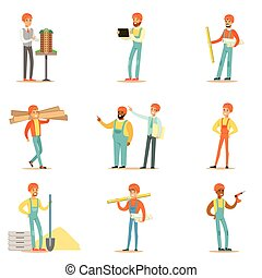 gebouw, proces, woning, werkmannen , architecten, plan, bouwsector, reeks, illustraties