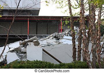 gebouw, puin, sloopwerk
