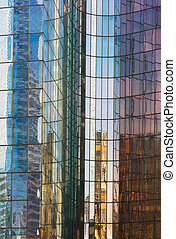 gebouw, reflectie, abstract, backround, glas, veelkleurig