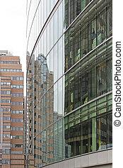 gebouw, reflectie, kantoor