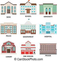 gebouw, regering, gekleurde, iconen