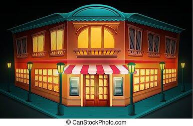 gebouw, restaurant, illustratie, vector, nacht, spotprent