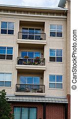 gebouw, rijhuis, drie, balkons