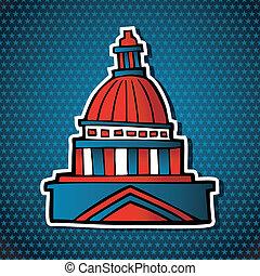 gebouw, schets, capitool, usa, verkiezingen, pictogram