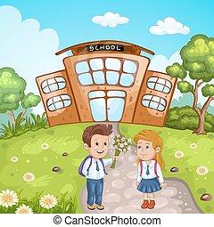 gebouw, scholieren, school, illustratie, voorkant