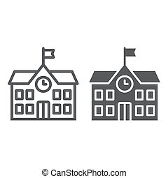 gebouw, school, 10., lineair, model, eps, meldingsbord, opleiding, pictogram, vector, architectuur, grafiek, lijn, witte achtergrond, glyph