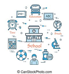 gebouw, school, concept, opleiding