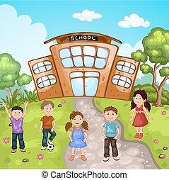 gebouw, school, illustratie