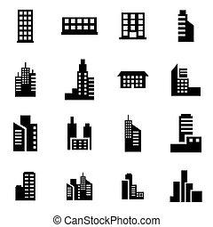 gebouw, set, black , vector, pictogram