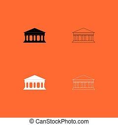 gebouw, set, black , witte , bank, pictogram