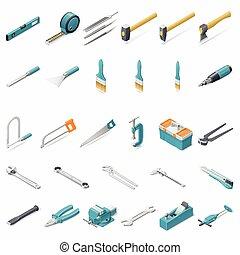 gebouw, set, gereedschap, hand, pictogram