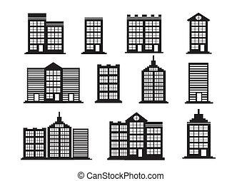 gebouw, set, iconen