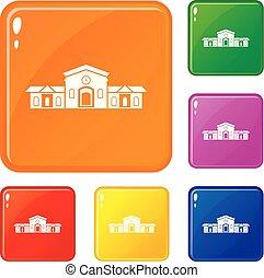 gebouw, set, iconen, kleur, vector, station, spoorweg