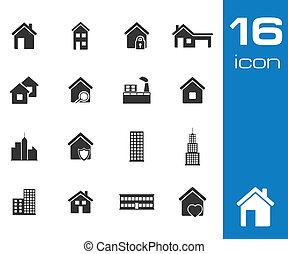 gebouw, set, iconen, vector, zwarte achtergrond, witte